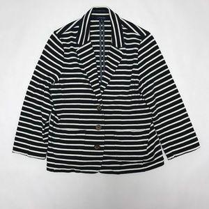 Navy/white striped Lands' End blazer size S